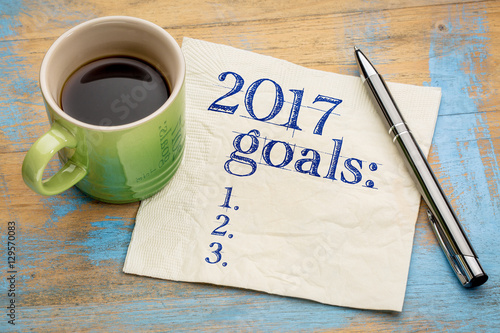 Photographie  2017 goals list on napkin