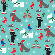 Christmas Cats And Dogs Patter...