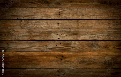 Foto auf Leinwand Holz Rustic wooden background. Old natural planked wood.