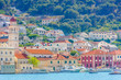 Pucisca town island Brac. / Waterfront view at small picturesque mediterranean town Pucisca, Island, Brac, Croatia Europe.