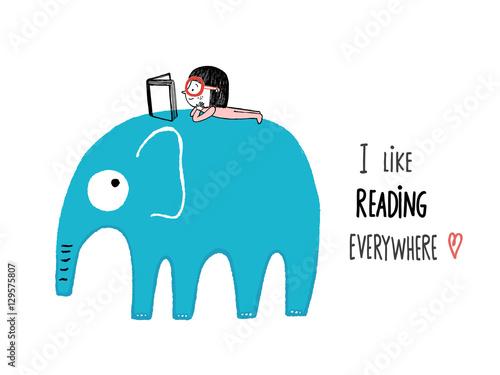Fotografía  I Like Reading Everywhere. Girl with a book on an elephant, hand