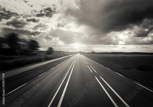 Car Highway at sunset.
