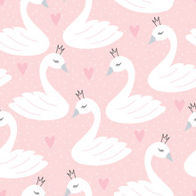 Seamless Swan Princess Pattern Vector Illustration