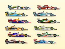 Set Of Racing Bolide. A Collection Of Sports Cars. Quick Transport. Powerful Engine. Aerodynamic Body. Stickers, Labels. A Competitor, The Grand Prix. Side View, Isolated On Background.
