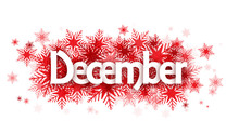 DECEMBER Overlapping Vector Letters Icon With Snowflakes