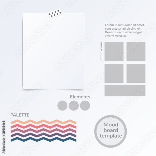 vector mood board template with color palette isolated on white