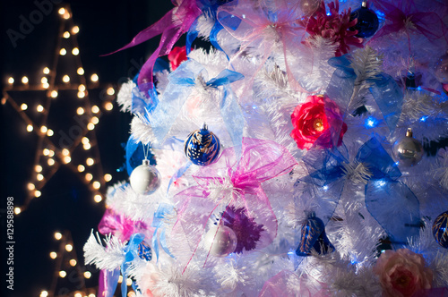 White Christmas Tree White Blue and Pink decoration