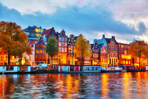 Photo Stands Amsterdam Amsterdam city view with Amstel river
