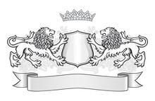 Crest With Two Lions, Crown And A Shield