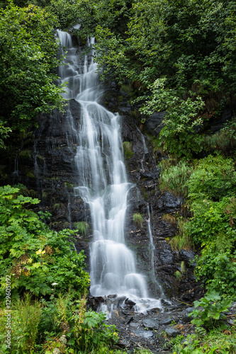Small Waterfall Near Valdez Lake in Alaska Surrounded by Green T