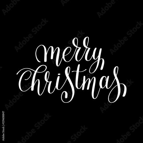Fototapety, obrazy: merry christmas black and white handwritten lettering inscriptio
