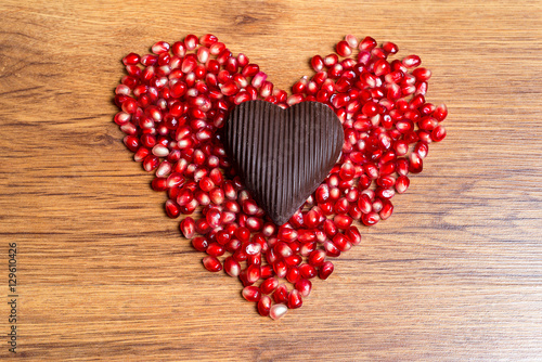 Heart Of Red Pomegranate Seeds And Dark Chocolate A
