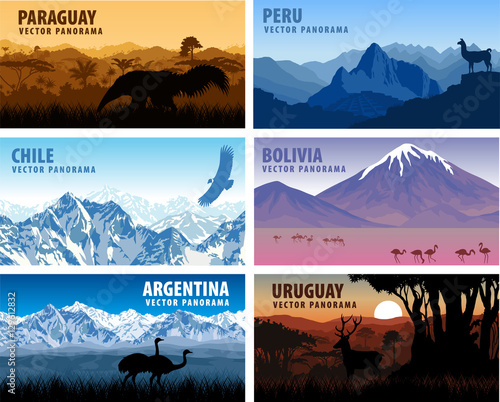 Photo vector set of panorams countries South America - Chile, Peru, Argentina, Bolivia