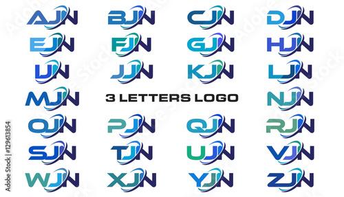 Photo 3 letters modern generic swoosh logo AJN, BJN, CJN, DJN, EJN, FJN, GJN, HJN, IJN
