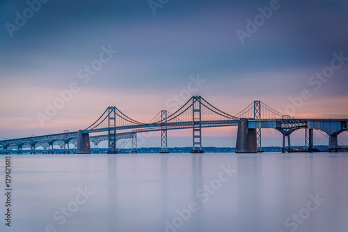 Spoed Fotobehang Bruggen Long exposure of the Chesapeake Bay Bridge, from Sandy Point Sta