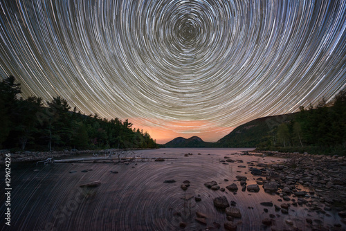 Poster Taupe Jordan Pond Star Trails at night