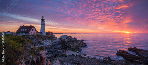 Portland Head Light Panorama Sunrise Fototapeta