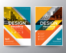 Red And Orange Diagonal Line Brochure Annual Report Cover Flyer Template Layout