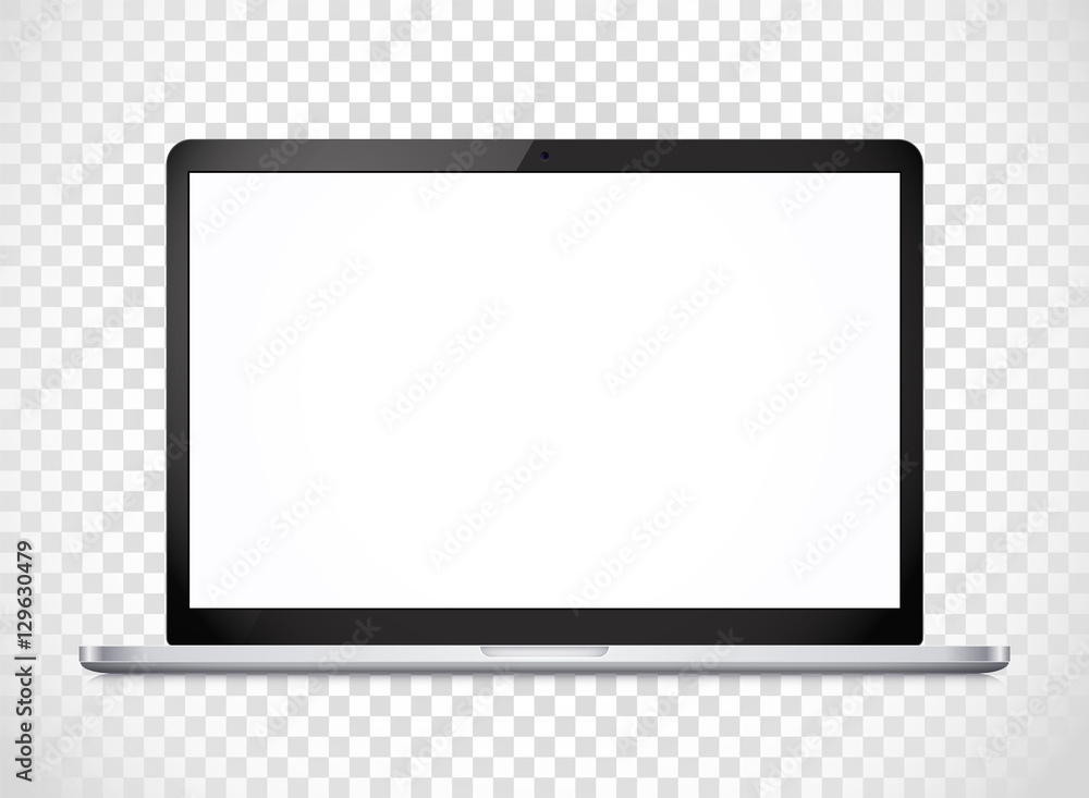Fototapeta Modern laptop computer vector mockup isolated on transparent. Ve
