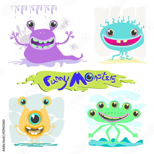 Funny monsters. Vector illustration of animals monsters