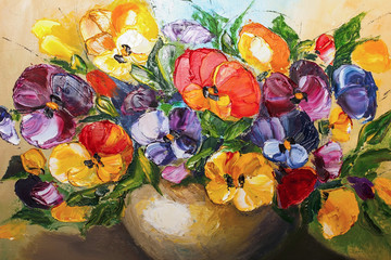 Obraz texture oil painting flowers, painting vivid flowers