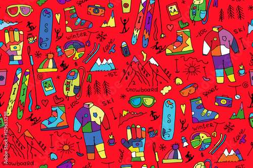 Cotton fabric Winter sport, seamless pattern for your design