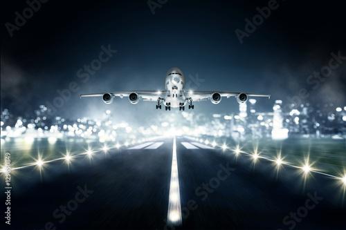 Flugzeug im Landeanflug Fototapet