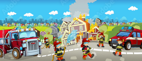Staande foto Cartoon cars Cartoon happy and funny scene with firefighters extinguishing the house - for different fairy tales - illustration for children