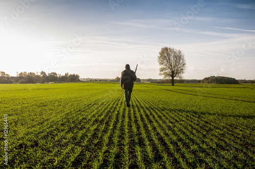 Fotobehang Jacht Hunter with hunting dog walks through field