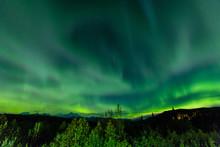 Aura Borealis (Northern Lights) In Denali Wilderness National Park, Alaska