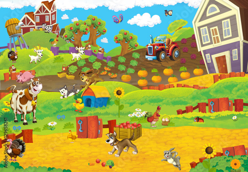 Cartoon happy and funny traditional farm scene for different usage - illustration for children