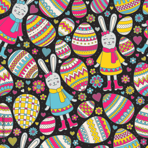 Cotton fabric Cute Easter pattern. Vector seamless pattern with doodle easter elements. Colorful eggs, bunny, flowers, hearts with doodle ornament. Hand drawn background for kids.