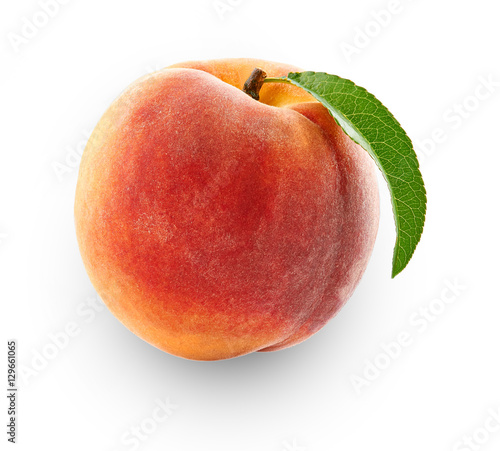 peach isolated in close-up