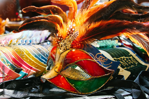 Garden Poster Bird-of-Paradise Close up view of beautiful carnival mask in American shop. Copyspace