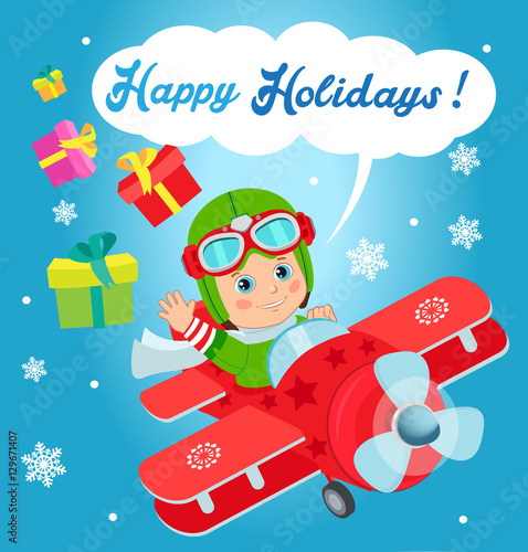 Poster Castle Christmas Santa Helper Boy. Cute Boy Pilot Flies On A Airplane And Deliver Christmas Gifts. Card For New Year And Happy Holiday Theme.