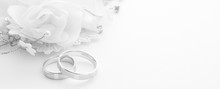 Wedding Rings On Wedding Card On A White Background, Border Design Panoramic Banner