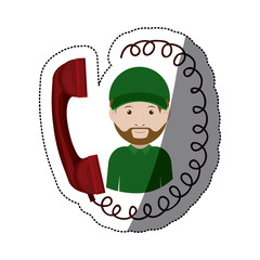 Phone and man icon. Delivery shipping logistics and transportation theme. Isolated design. Vector illustration