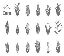 Corn Icons. Vector Illustration.
