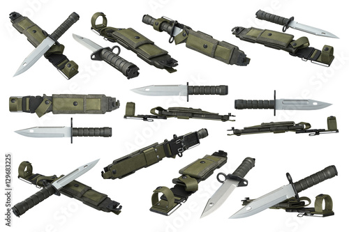 Fotografía  Knife army military with sharp blade and green sheath set