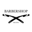 Logo for barbershop, hair salon with barber razor blades. Vector Illustration