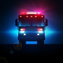 Fire Truck In The Dark With Fu...