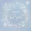Happy New Year snowlakes background grey snow