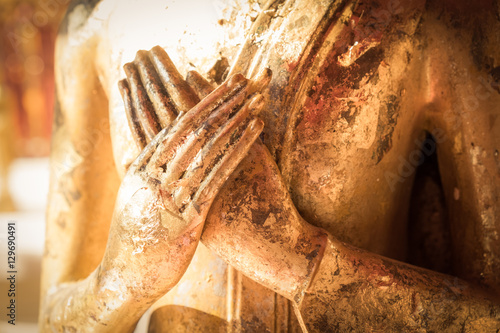 Spoed Foto op Canvas Boeddha Close up hand of statue Buddha.buddhism concept