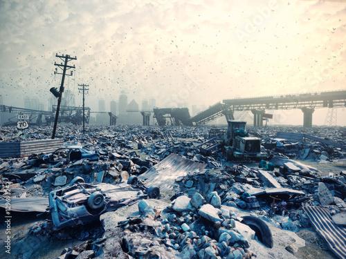 Fotografía  ruins of a city. 3D concept