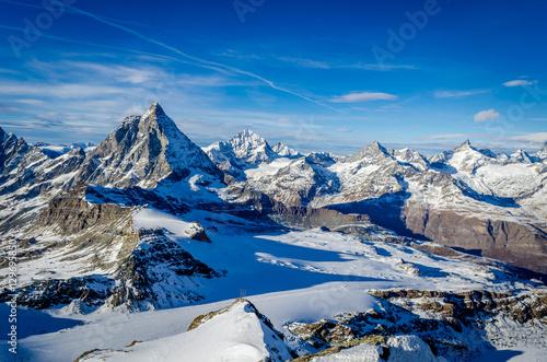 Matterhorn, viewed from Klein Matterhorn on a clear winter day Poster