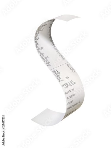 Curved receipt isolated - 129697231