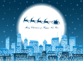 Merry christmas santa in a sledge flying over a night city