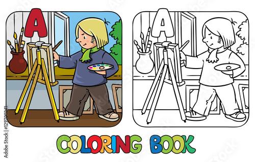Artist coloring book. Profession ABC. Alphabet A – kaufen ...