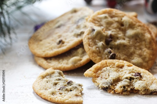 Obraz na plátně Homemade giant Chocolate chip cookies on holiday background, selective focus