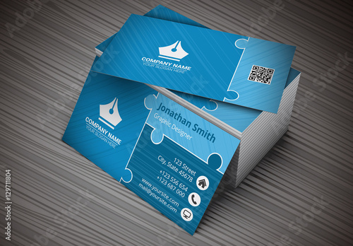 Business card with blue puzzle piece design layout buy this stock business card with blue puzzle piece design layout colourmoves